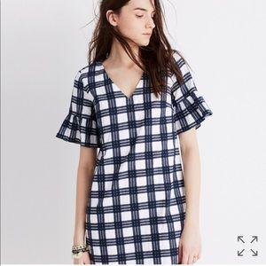 Madewell Bell Sleeve Dress in Leighton Plaid